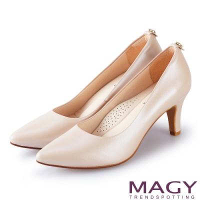 MAGY 氣質魅力款 愛心鑽飾真皮尖頭高跟鞋-粉色