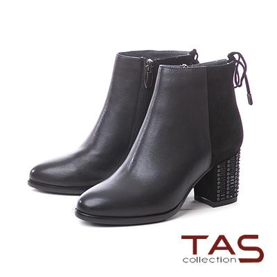 TAS素面麂皮拼接蝴蝶結繫帶粗跟短靴–時尚黑