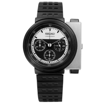 SEIKO 精工 義大利汽車設計師 GIUGIARO 聯名限量款不鏽鋼腕錶-鍍黑/43mm