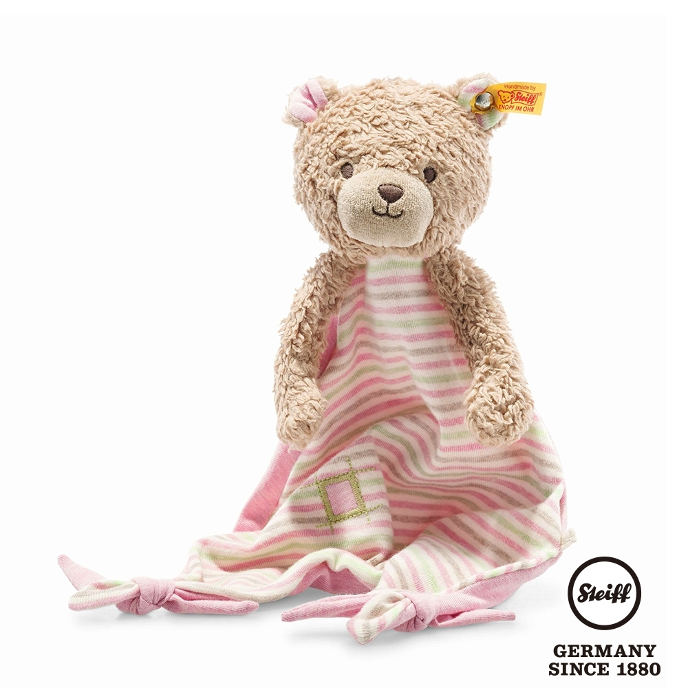 STEIFF德國金耳釦泰迪熊  GOTS Rosy Teddy Bear Comforter  可愛小熊 (嬰幼兒安撫巾)