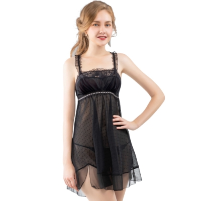 思薇爾 香頌之吻系列連身蕾絲性感小夜衣(黑色)