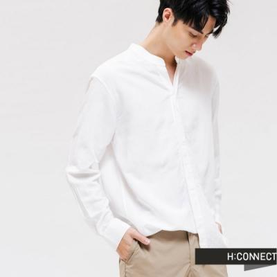 H:CONNECT 韓國品牌 男裝 - 質感排扣亞麻襯衫 - 白