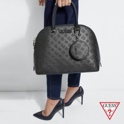 GUESS-女包-經典壓紋LOGO圓弧兩用包-黑