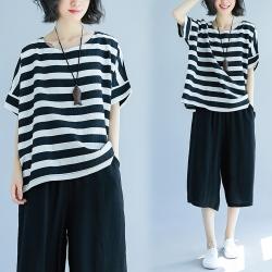 簡約百搭黑白撞色條紋舒適寬鬆上衣-F-Keer