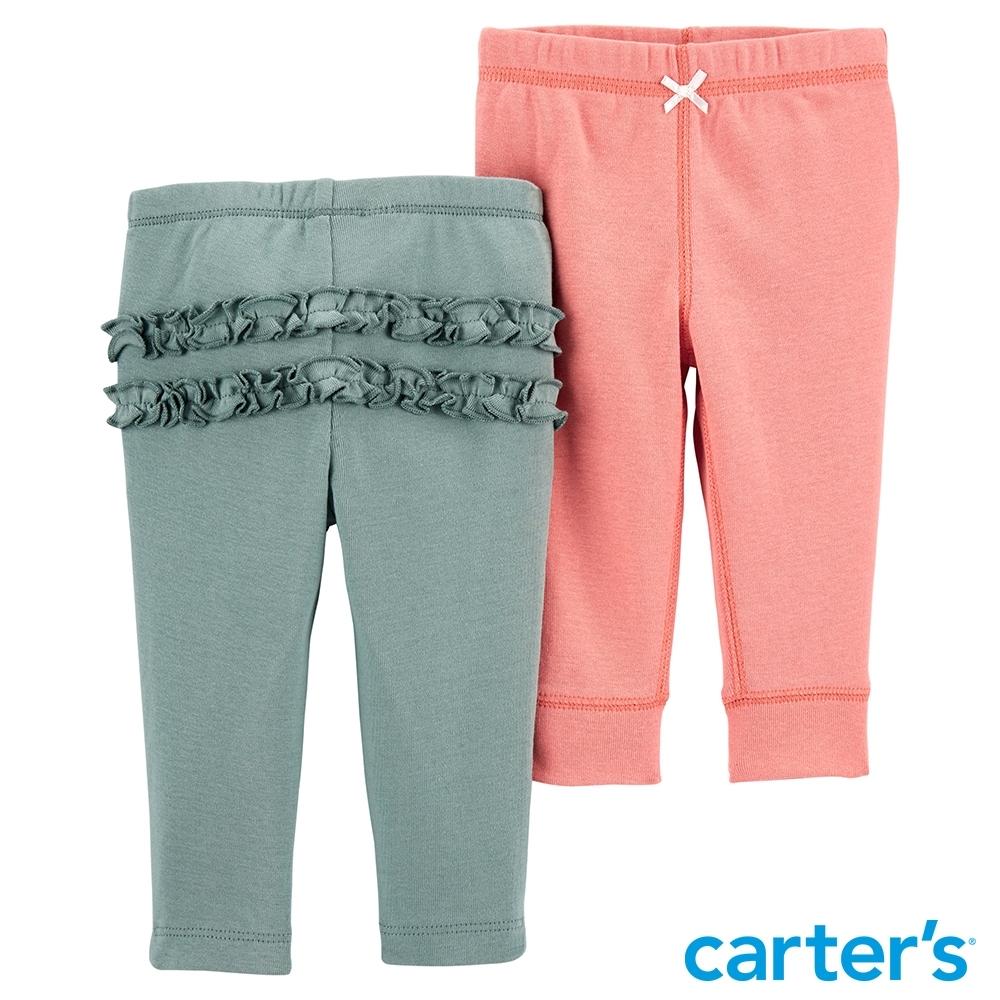 【Carter's】素色花朵2件組長褲(6M-24M)(台灣總代理)