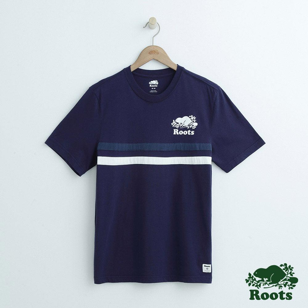 男裝Roots 拼接短袖T恤-藍