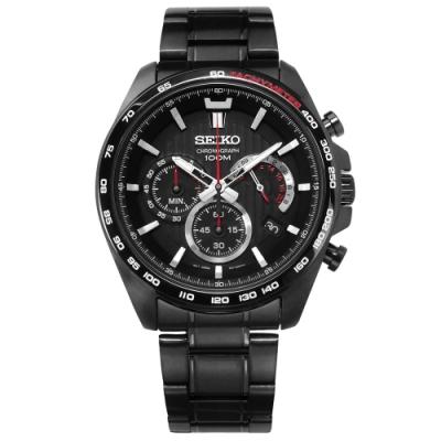 SEIKO 精工 運動時尚 三眼計時 防水100米 不鏽鋼手錶-黑色/44mm
