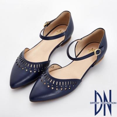 DN 法式浪漫 真皮電雕尖頭瑪莉珍跟鞋-藍