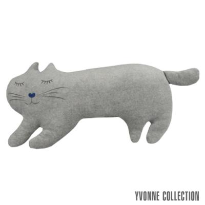 Yvonne Collection 貓咪造型靠枕-淺灰