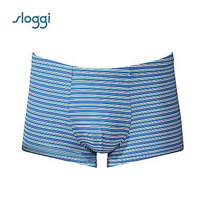 sloggi men Strip系列合身平口褲 冰砂藍