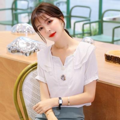 清爽舒適雙層荷葉領氣質小衫S-2XL(共二色)-白色戀人