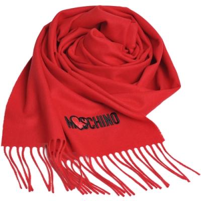 MOSCHINO 義大利製美麗諾羊毛愛心圖騰字母LOGO刺繡披肩/圍巾(紅色)