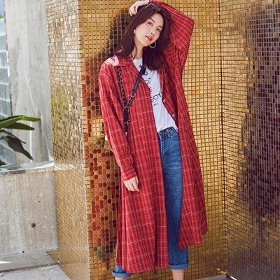 復古格紋排扣長款風衣外套 (紅色)-Kugi Girl