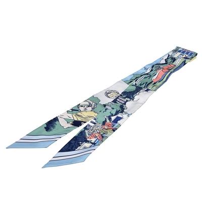 HERMES Wow圖騰Twilly絲巾領結(淺藍色)