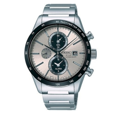 SEIKO 精工SPIRIT太陽能兩地腕錶-銀灰(V172-0AP0S/SBPY117G)