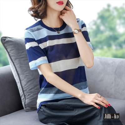 JILLI-KO 冰絲亮絲條紋針織衫- 藍