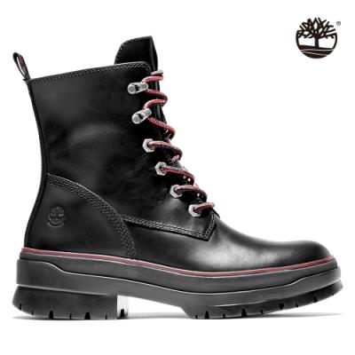 Timberland 女款黑色全粒面防水綁帶高筒靴|A2D6A