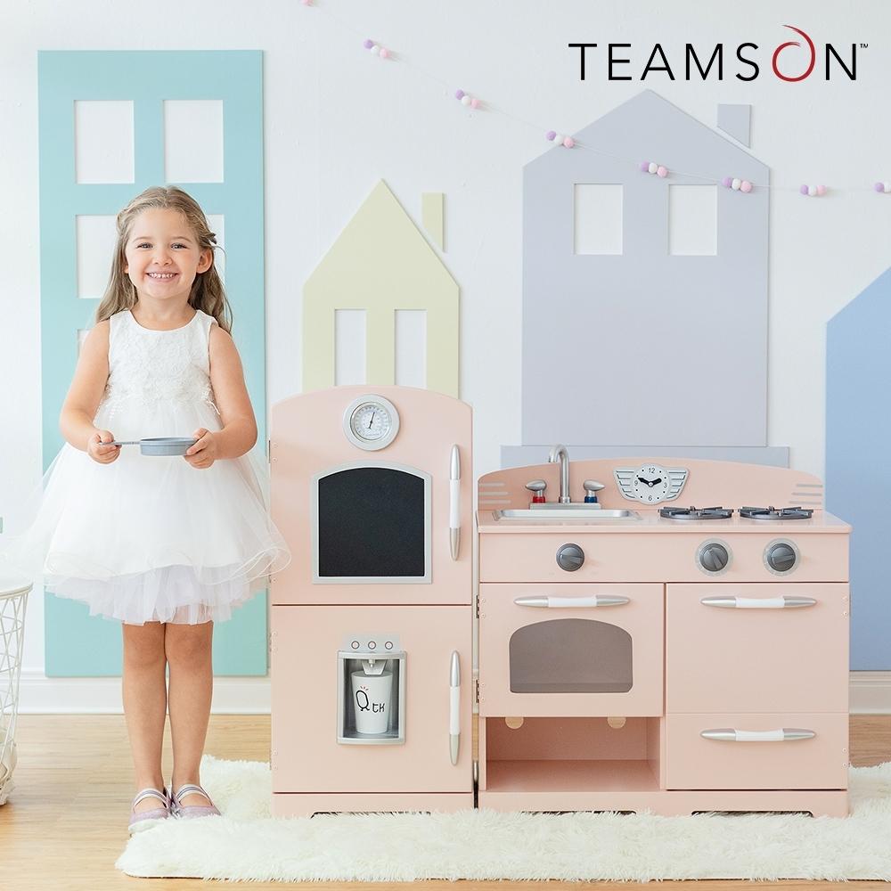 Teamson 小廚師費爾德復古風格玩具冰箱廚房 (2件組-粉色)