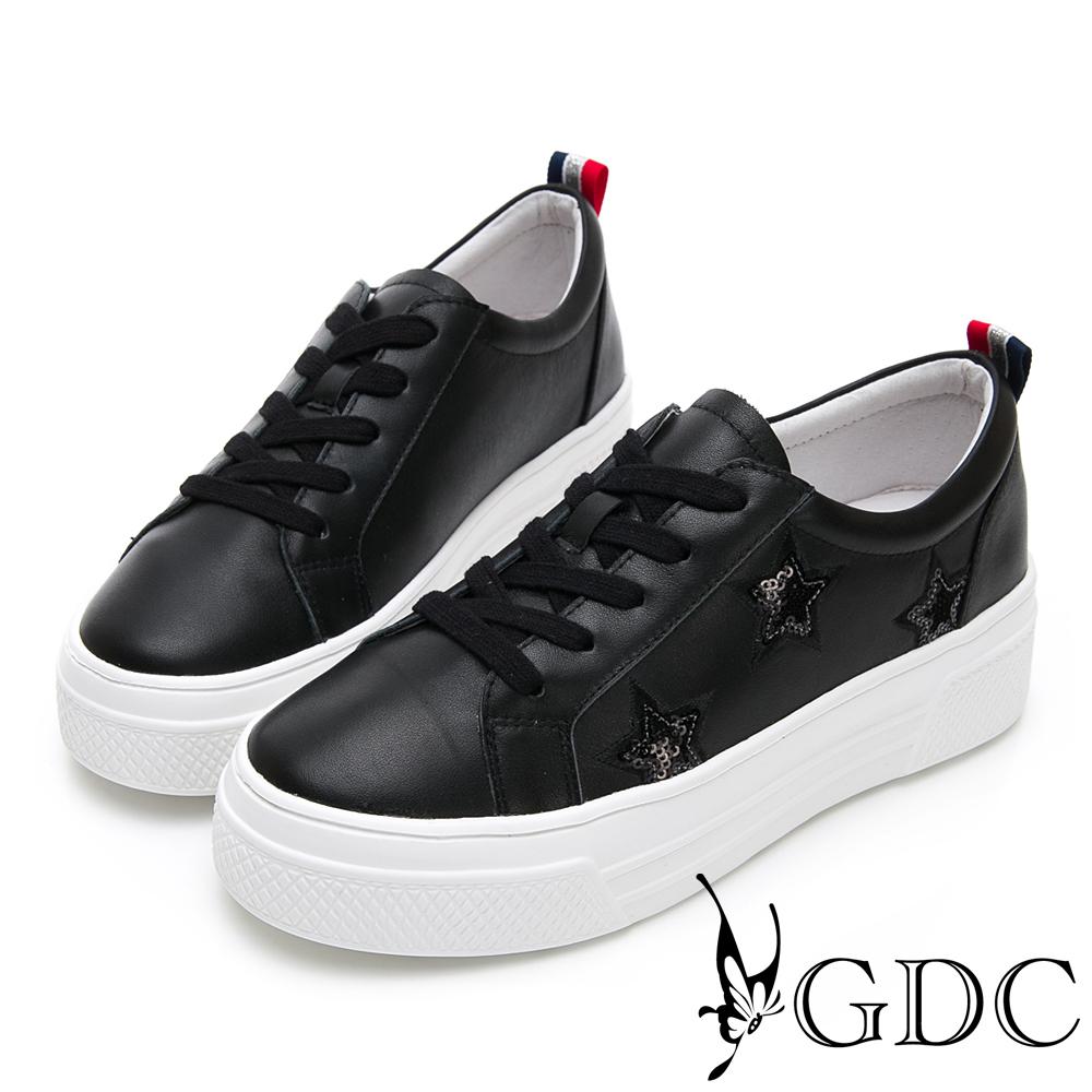 GDC-真皮星星俏皮逗趣素面綁帶百搭厚底休閒鞋-黑色