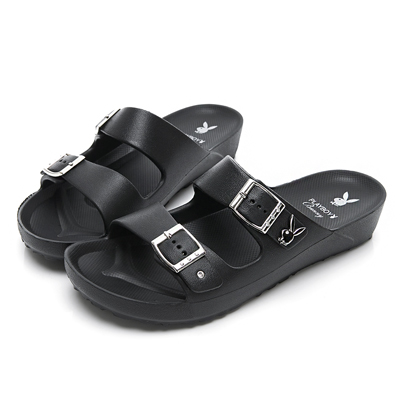 PLAYBOY 水鑽雙帶輕盈休閒拖鞋-黑-YT510CC