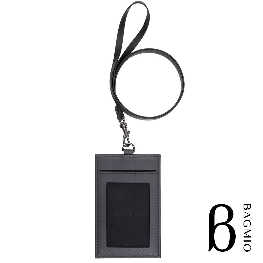 BAGMIO 人字紋牛皮3卡直式證件套 深灰 附皮背帶