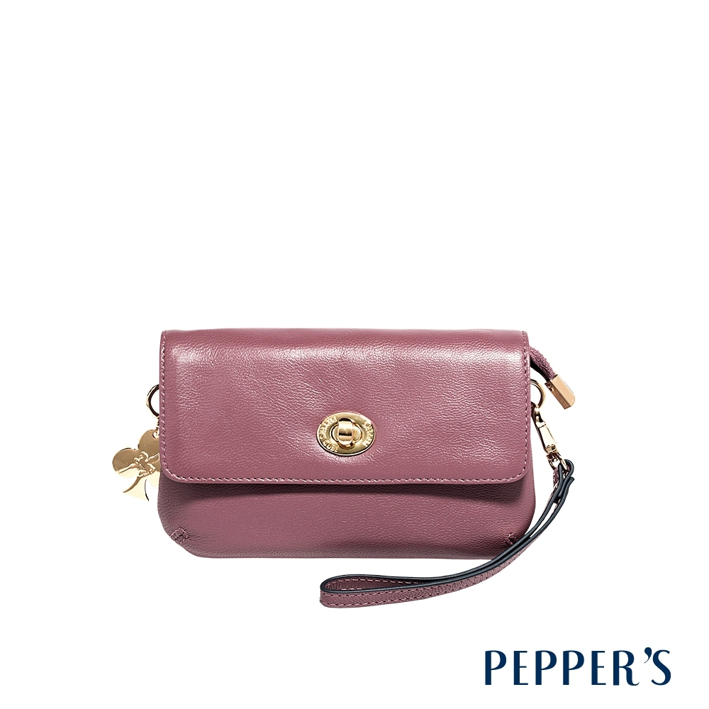 PEPPER'S Ellie 羊皮轉鎖手拿包 - 迷霧紫