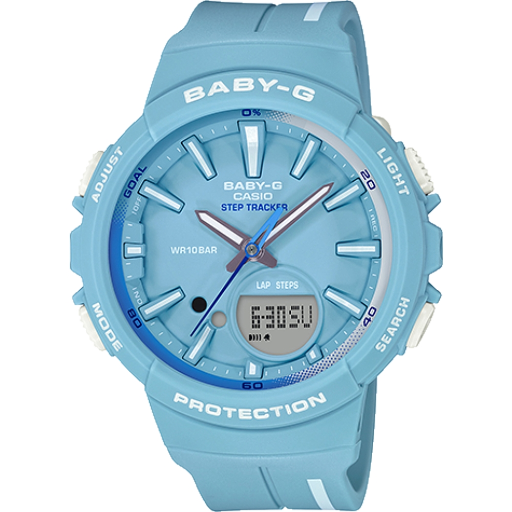 BABY-G 計步時尚風女錶-淺藍X白(BGS-100RT-2A)/42mm product image 1