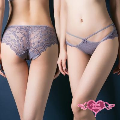 性感內褲 花藤連結 蕾絲半透低腰三角美臀內褲(紫F) AngelHoney天使霓裳