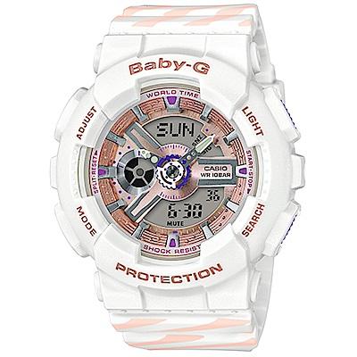 Baby-G Chance 彩繪線條運動腕錶(BA-110CH-7A)白/43.4mm @ Y!購物
