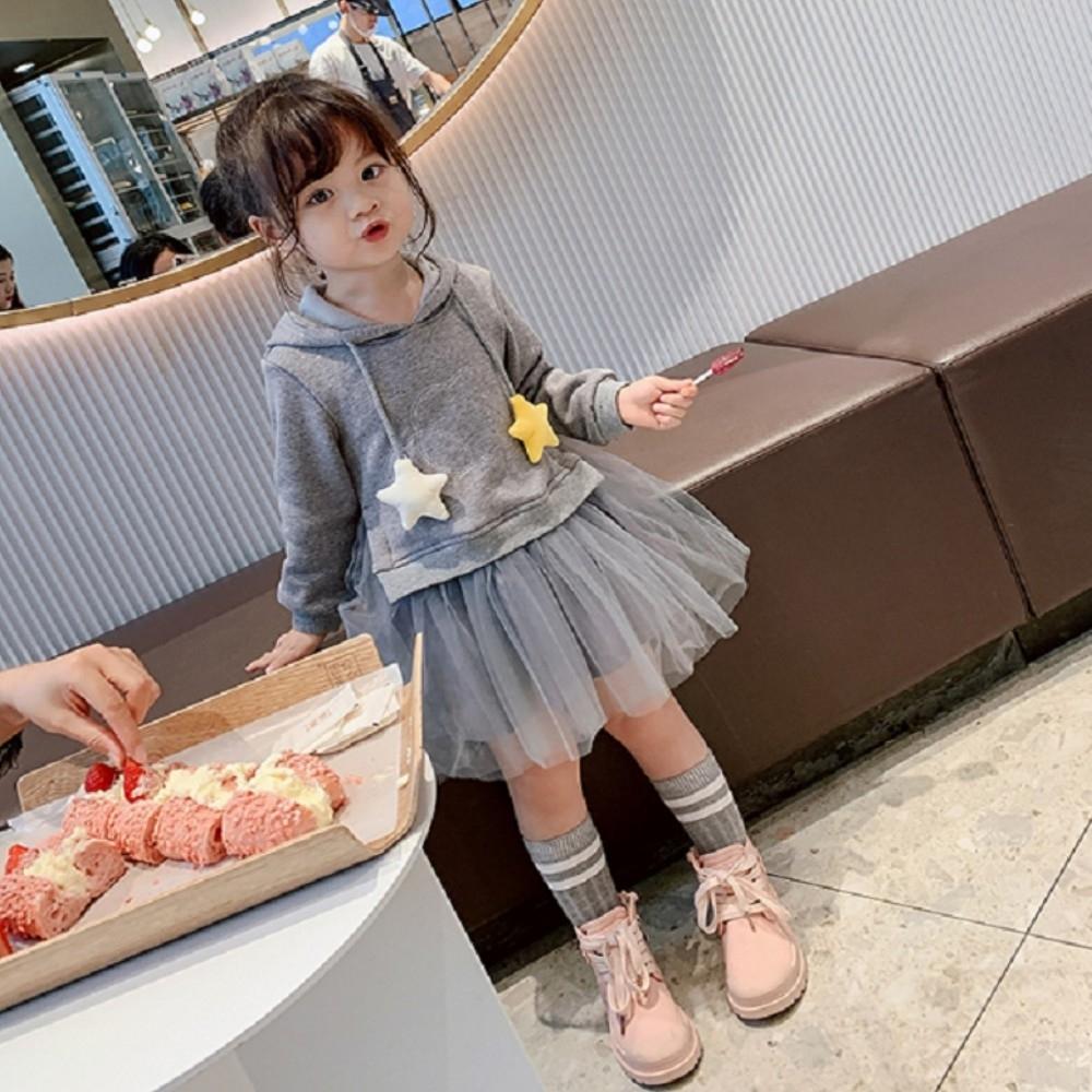 小衣衫童裝 女童冬款加絨連帽上衣拼接紗裙洋裝1081101