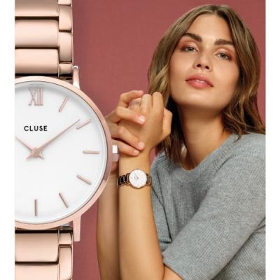 CLUSE Minuit午夜系列腕錶(玫瑰金框/白錶面/玫瑰金不銹鋼扣鍊)-33mm