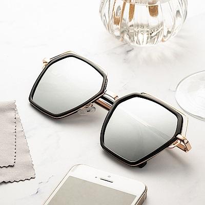 尚佰家 寶麗萊鏡片時尚造型抗UV太陽眼鏡-黑框反光水銀(882A)