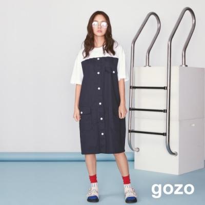 gozo 假二件配色排釦休閒洋裝(二色)