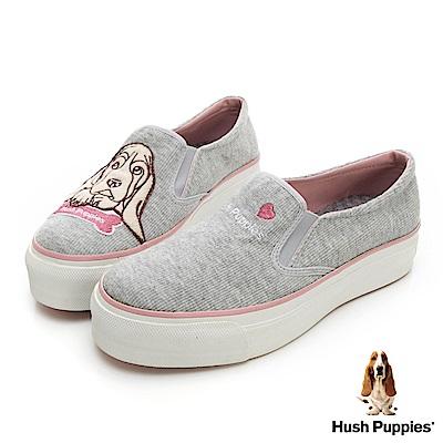 Hush Puppies 巴吉度狗Q版咖啡紗厚底便鞋-淺灰