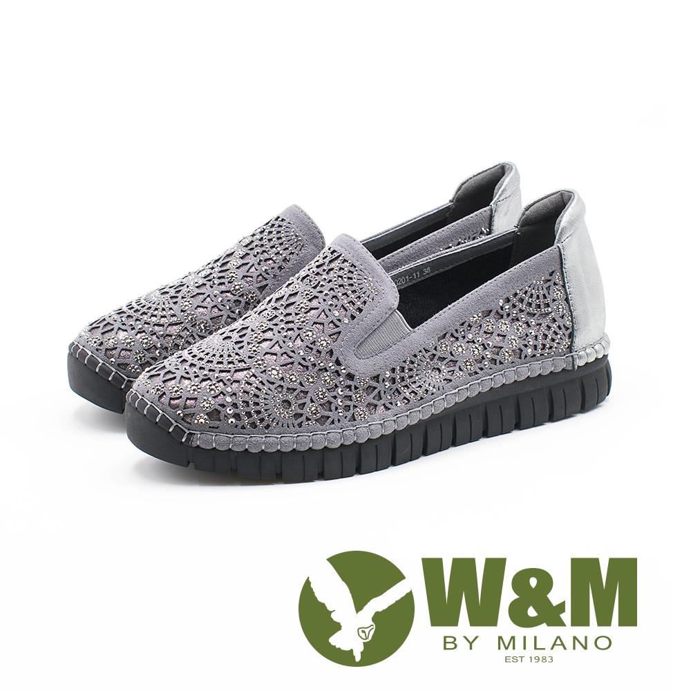 W&M 法系優雅 花朵鑲鑽休閒 女鞋-灰(另有黑)