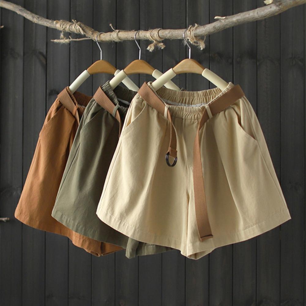 腰帶版棉質寬管短褲休閒微喇熱褲-設計所在 product image 1