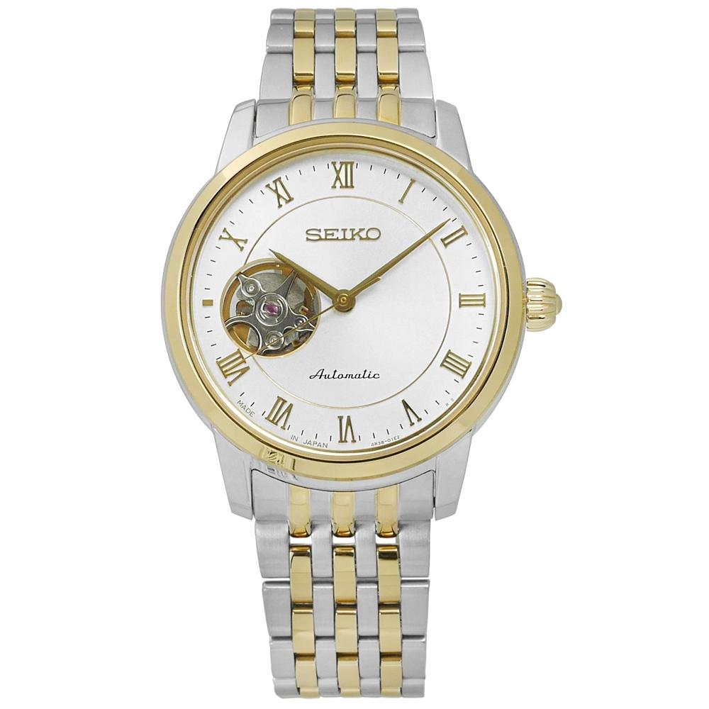SEIKO 精工 PRESAGE 都會 不鏽鋼機械錶-銀x金框/34mm