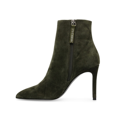 STEVE MADDEN-CLOVERS 麂皮尖頭細跟低筒靴-墨綠色