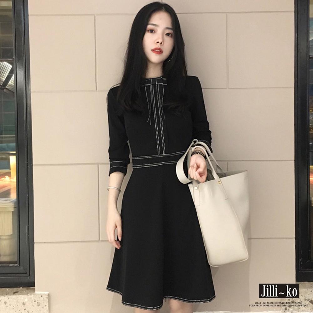 Jilli~ko 韓版蝴蝶結領顯瘦連衣裙-黑色