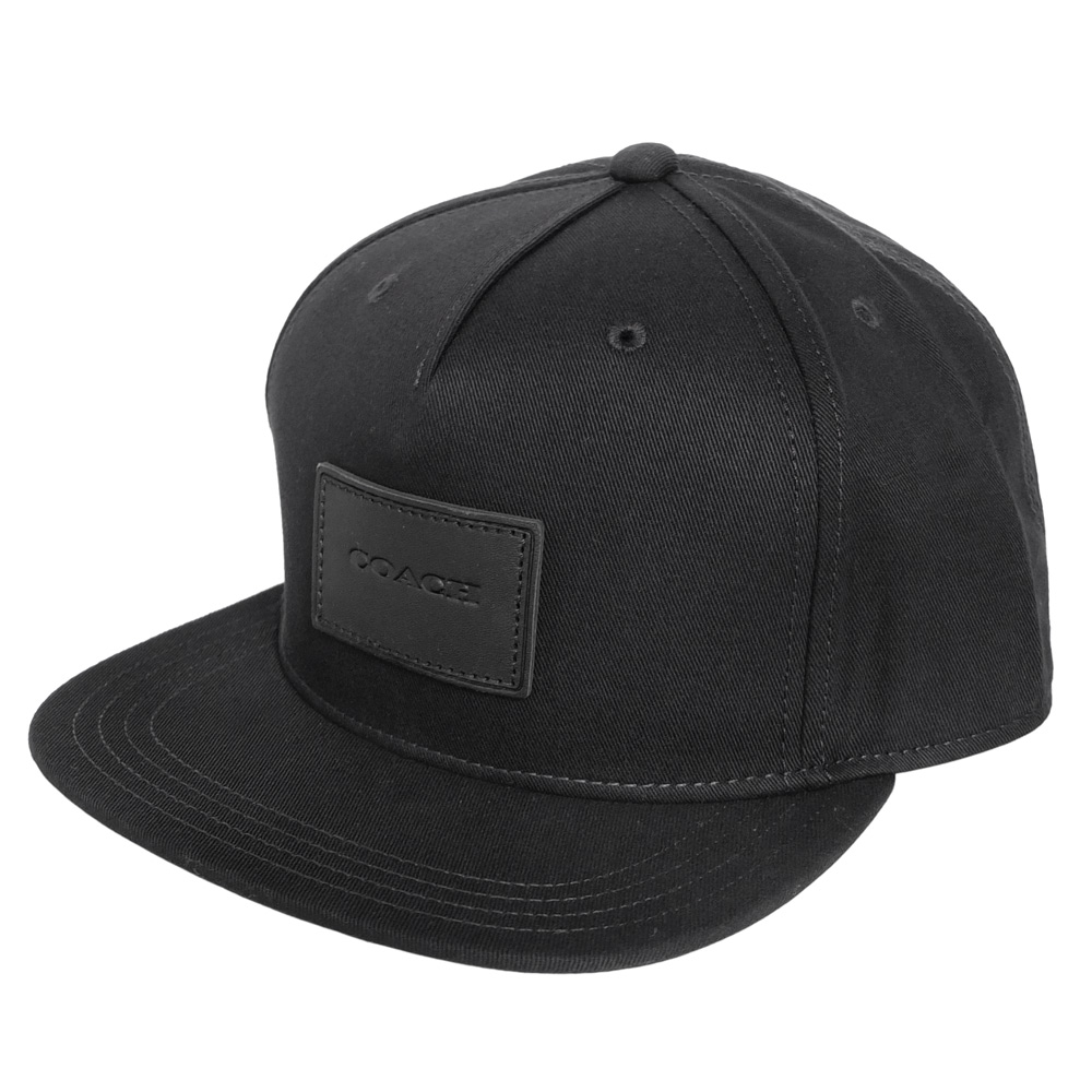COACH黑色純棉皮標貼飾嘻哈潮帽COACH
