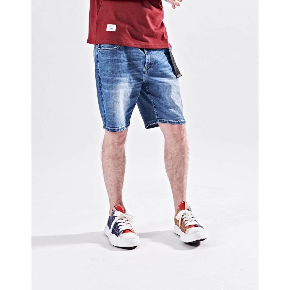 NAVY-刷色牛仔短褲-情侶款-男【B1NA041】