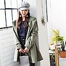 高含棉後蝴蝶結綁帶造型長版連帽外套-OB大尺碼