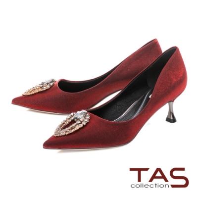 TAS立體鑽釦飾片尖頭高跟鞋-冶艷紅