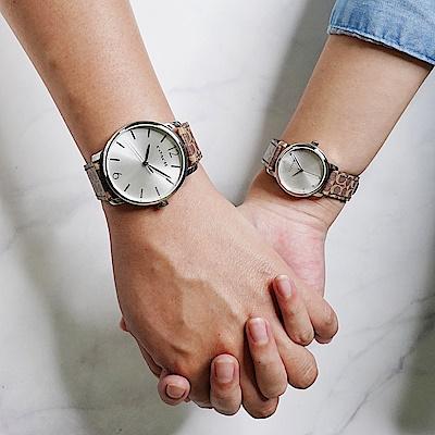 COACH 經典印花手錶 對錶-銀/40+28mm(CO14000057)