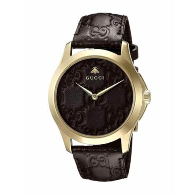 GUCCI G-TIMELESS獨特時尚皮帶腕錶38mm(YA1264035)