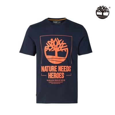 Timberland 男款深寶石藍Nature Needs Heroes有機棉短袖T恤 A43Y2433