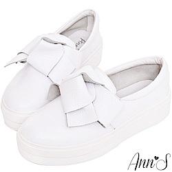 Ann'S激瘦第三代!!!立體大蝴蝶結全真牛皮厚底小白鞋