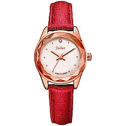 JULIUS聚利時 小獅子流星雨貝殼面皮帶腕錶-紅色/26mm