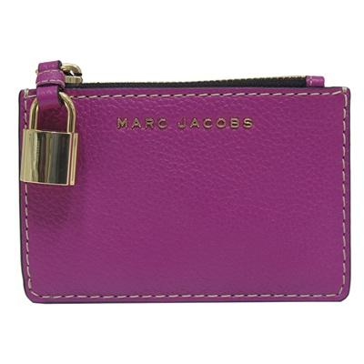 MARC JACOBS 鎖頭拉鍊牛皮證件/零錢包-紫色