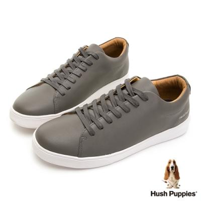 Hush Puppies 質感皮革休閒球鞋-灰色